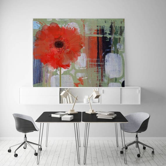 """Blooming. Floral Painting, Red Green Floral Canvas Art Print, Large Abstract Colorful Contemporary Canvas Art Print up to 72"""" by Irena Orlov"""