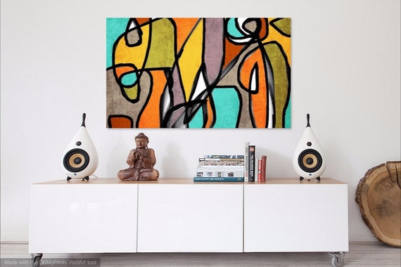 Midcentury Modern Painting Midcentury Canvas Print Mid century Wall Decor Retro Painting Mid Century Wall Art