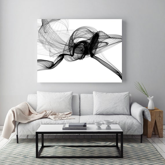 Minimalist Black and White,Flight Large canvas art Black and White Abstract Canvas Print, large Abstract Painting, Large Wall Art