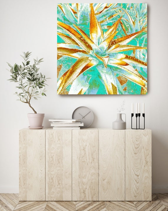 Succulent. Turquoise Gold Canvas Art Print Canvas Print by Irena Orlov