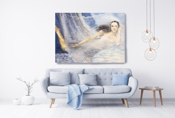 Blue Underwater Grace and Beauty 3, Painting Figurative Art Extra Large Nautical Painting Large Canvas Print, Woman Figurative Canvas Print
