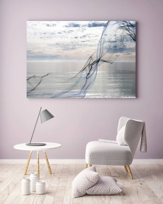 "ORL-11591 Silver ocean breeze 8. Extra Large Contemporary Blue Canvas Art Print, Seascape Abstract Canvas Art up to 80""  by Irena Orlov"