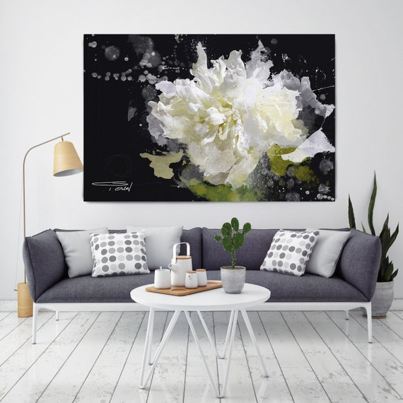 Blow Away on The Wind. Extra Large Floral Abstract Original Oil Painting on Canvas, Contemporary Black, White, Green Art by Irena Orlov