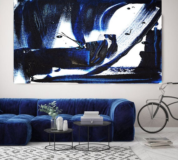 Electric Blue Abstract Art, Navy Blue Abstract Painting, Indigo Blue Abstract Art Painting,Large Painting, Fine Art Canvas Print up to 80""