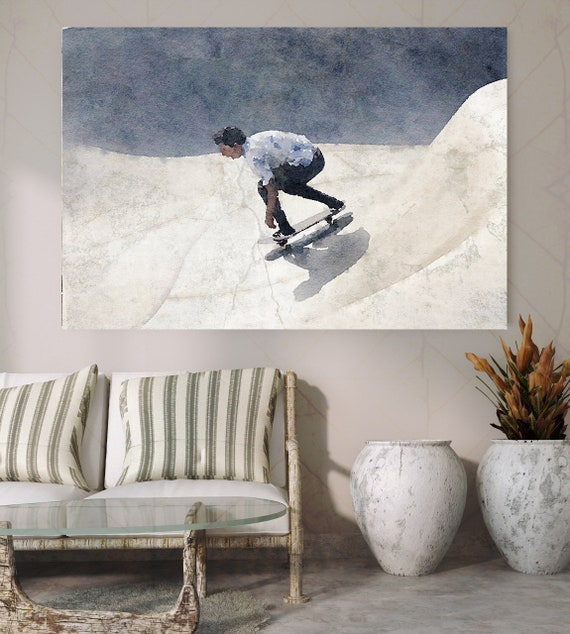 Skateboarder, Skateboard, Watercolor, Wall Art, watercolor painting, Canvas Art Print, Man On Skateboard, Irena Orlov