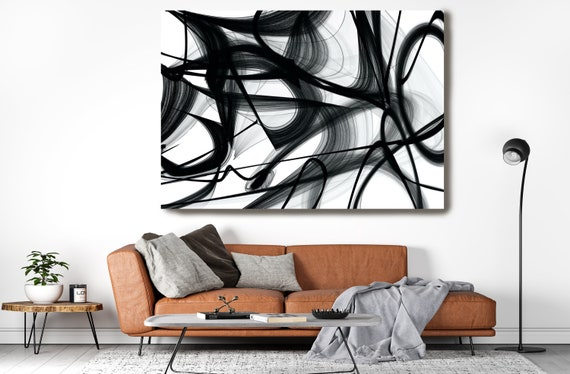 In the Shadow-play 45H x 60W inch, Innovative ORIGINAL New Media Abstract Black And White Painting on Canvas Minimalist Art