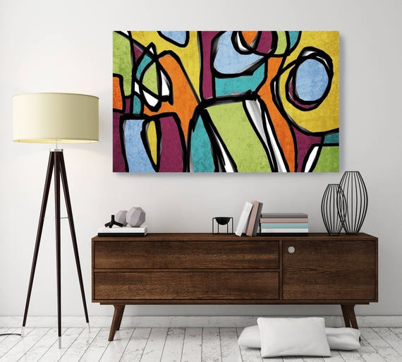 "Vibrant Colorful Abstract-0-12. Mid-Century Modern Green Canvas Art Print Mid Century Modern Canvas Art Print up to 72"" by Irena Orlov"