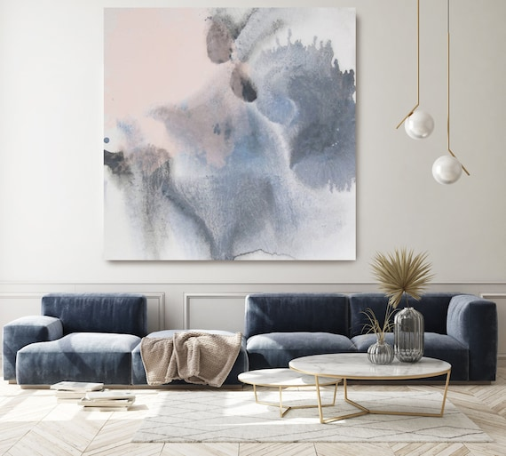 Blue Pink Contemporary Abstract Watercolor Canvas Art, Abstract Watercolor Canvas Art Print, Textured Abstract Painting Print, Dreamlight 1