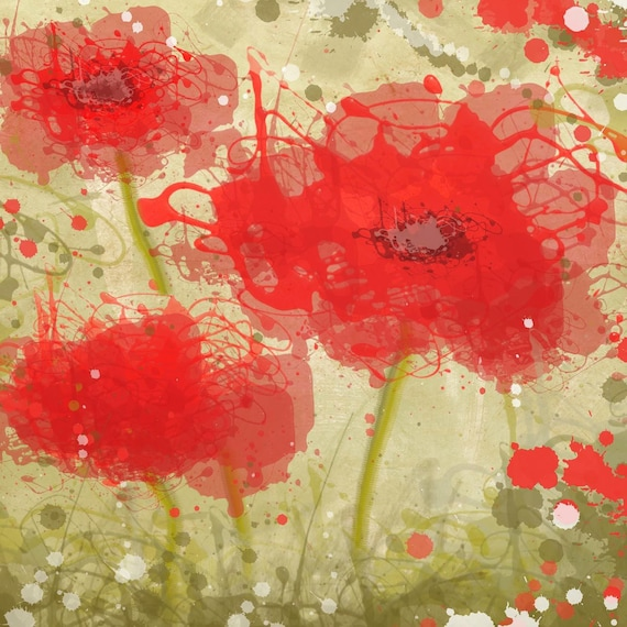 """Red Poppy Trio Flowers. Floral Painting, Red Green Abstract Art, Abstract Colorful Contemporary Canvas Art Print up to 48"""" by Irena Orlov"""