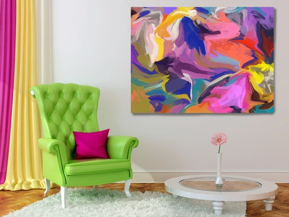 Finding Paradise Flow Painting, Vibrant Colorful Painting, Bright Multicolor Abstract Painting, Boho Painting Boho Chic Canvas Print