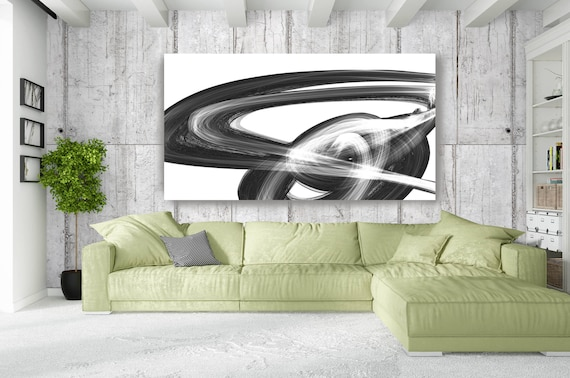 "The route. Contemporary Abstract Black and White, Unique Abstract Wall Decor, Large Contemporary Canvas Art Print up to 72"" by Irena Orlov"