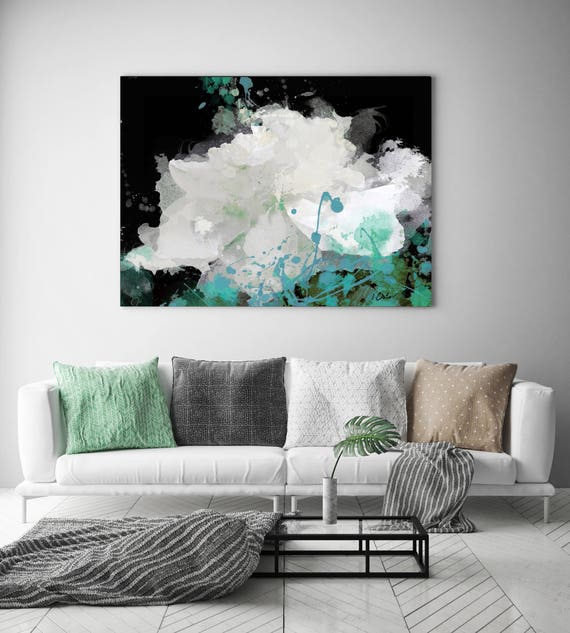 "Majesty. Floral Painting, White Black Turquoise Flower, Abstract Large Colorful Contemporary Canvas Art Print up to 72"" by Irena Orlov"