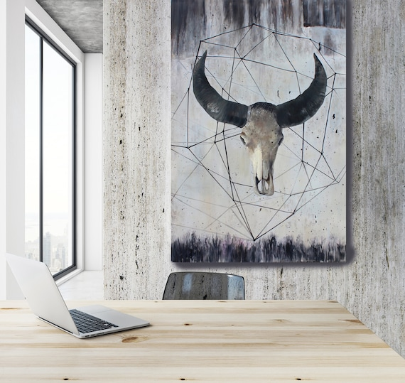Sacred Buffalo Original Acrylic Painting on Canvas by Irena Orlov 48 x 72 inches, Invest in Art