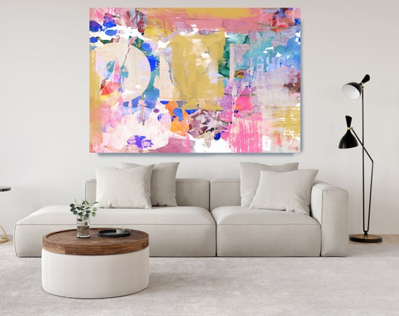 Yellow Pink Abstract Painting on Canvas, Extra Large Canvas Print, Blue Oversized Textured Art, Art for Interiors, sunny eye 1 Painting
