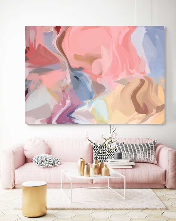 A Spicy Rose, Blush Pink Beige Yellow Abstract Painting, Abstract Painting, Contemporary Art, Hand Painted extra large canvas print