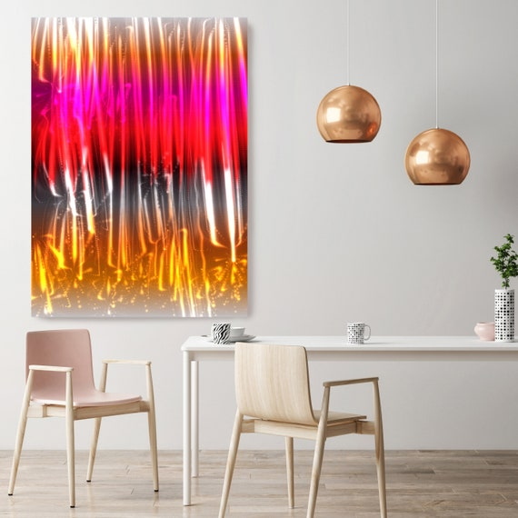 "Mysterious Light 23, Neon Black Red Yellow Contemporary Lines Wall Art, Extra Large New Media Canvas Art Print up to 72"" by  Irena Orlov"