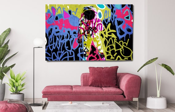 Colorful Astronaut Graffiti Art, Space Art, Graffiti Wall Art Space Art Print on Canvas, Large Canvas Print, Astronaut Graffiti Canvas Print