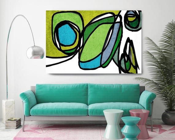 "Vibrant Colorful Abstract-0-22-6. Mid-Century Modern Green Canvas Art Print, Mid Century Modern Canvas Art Print up to 72"" by Irena Orlov"