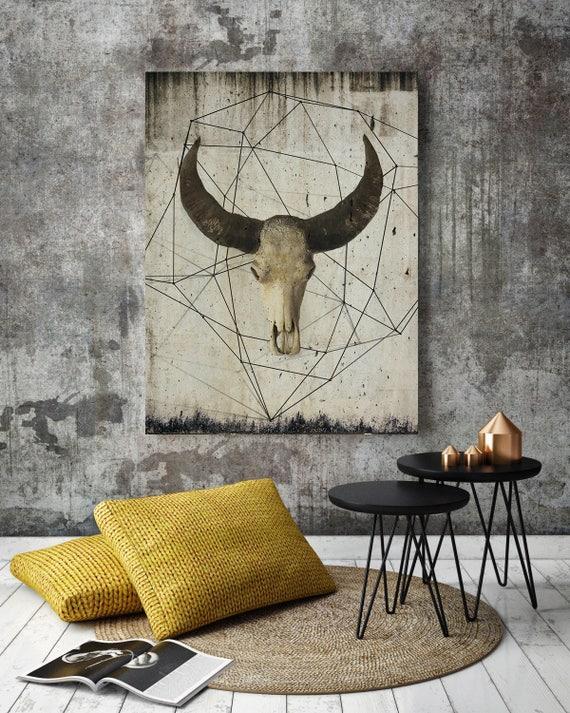 Buffalo Skull Art, Bison Art Print, Buffalo Canvas, Buffalo Skull, Buffalo Wall Art, Beige Wall Art, Beige Wall Print, Animal Skull Art