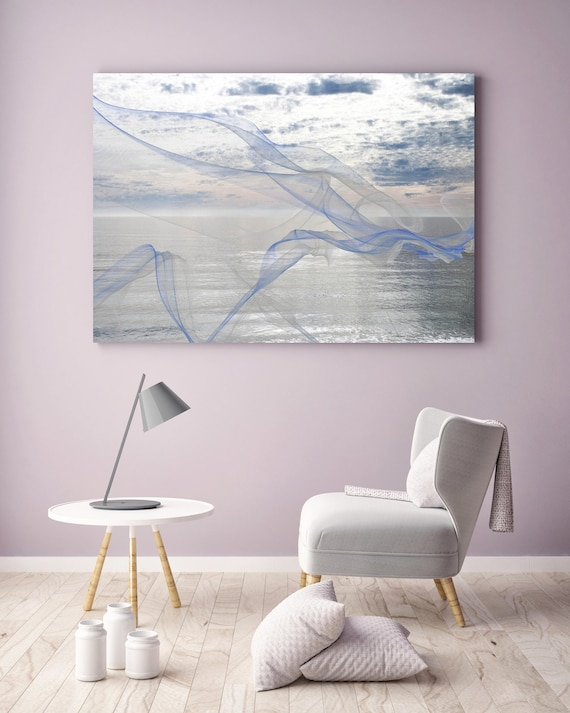 "ORL-11595 Silver ocean breeze 12. Extra Large Contemporary Blue Canvas Art Print, Seascape Abstract Canvas Art up to 80""  by Irena Orlov"
