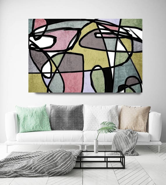 "Vibrant Colorful Abstract-0-26. Mid-Century Modern Green Blue Canvas Art Print, Mid Century Modern Canvas Art Print up to 72"" by Irena Orlov"
