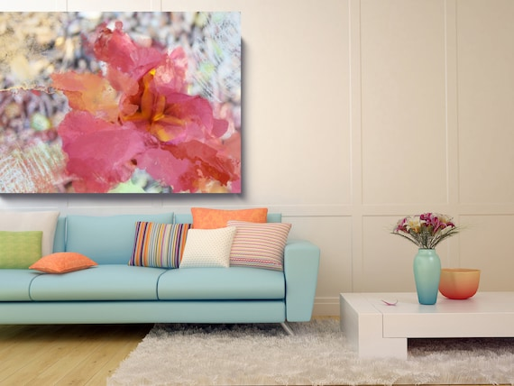 Romance. Floral Painting, Red Abstract Art, Wall Decor, Contemporary Floral Painting, Floral Wall Decor, Floral Wall Art Floral Canvas Print