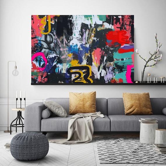 Graffiti Abstract Canvas, Street Art, Street Art Painting Print on Canvas, Large Canvas Print, Urban Canvas Print, Through confliction,