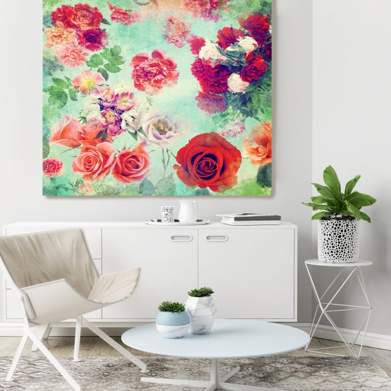 """Romantic- Boho Chic 2. Floral Painting Print, Boho Chic Floral Colorful Contemporary Canvas Art Print up to 72"""" by Irena Orlov"""