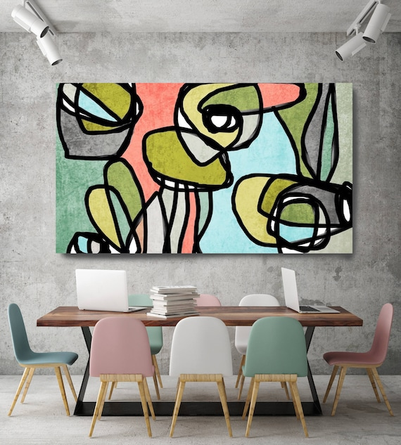 "Vibrant Colorful Abstract-0-15. Mid-Century Modern Green Canvas Art Print Mid Century Modern Canvas Art Print up to 72"" by Irena Orlov"