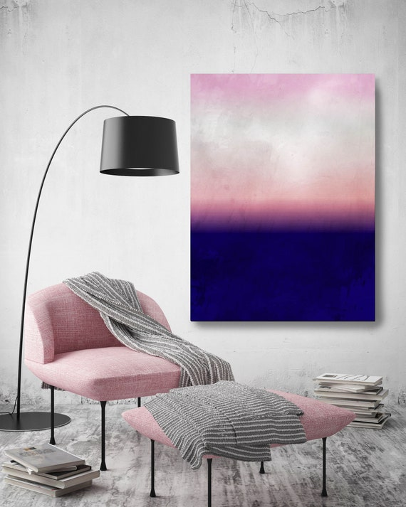 Abstract Minimalist Rothko Inspired 1-38. Abstract Painting Giclee of Original Wall Art, Purple Pink Blue Large Canvas Art Print up to 72""