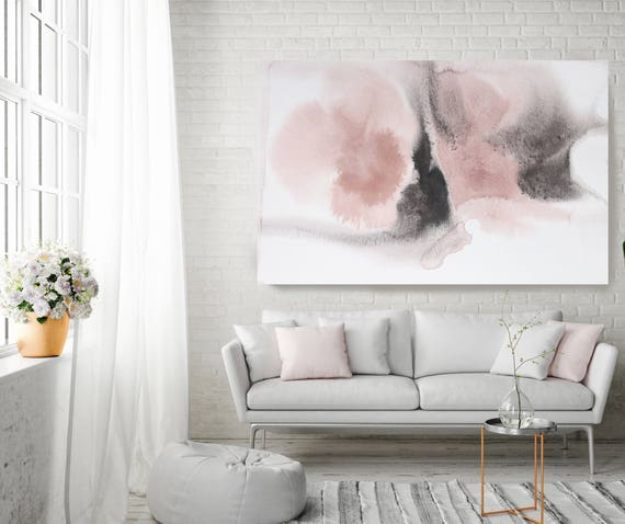 "Shades of Pink. Pink Abstract Paintings Art, Extra Large Abstract Pink Gray Contemporary Canvas Art Print up to 72"" by Irena Orlov"