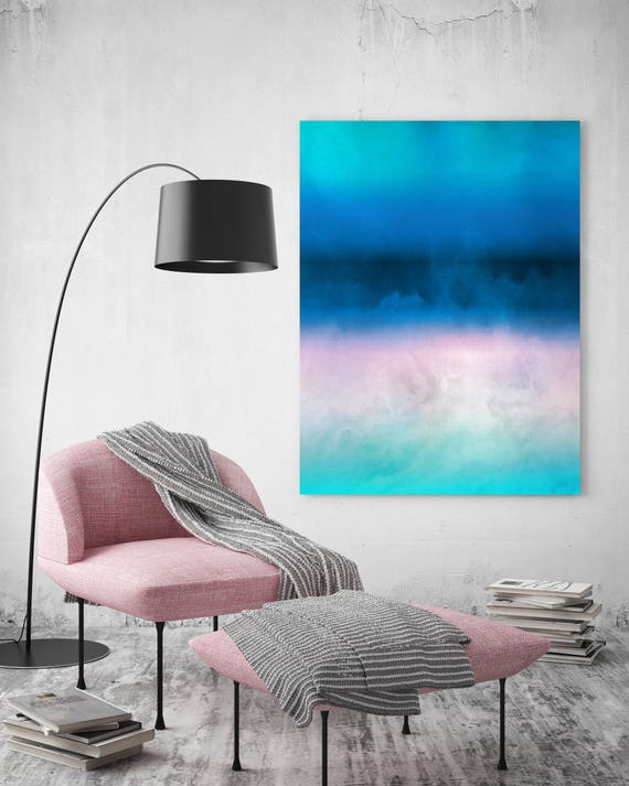 """Inspired by Rothko 15. Ombre Watercolor Abstract, Blue Pink Watercolor Painting Print Canvas Art Print up to 72"""" by Irena Orlov"""