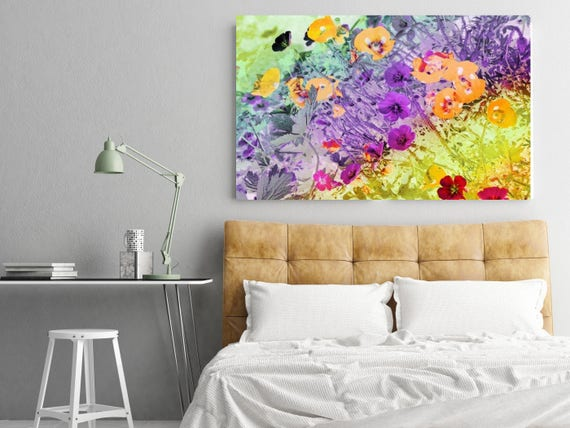 """Let us dance in the sun. Floral Painting, Purple Yellow Abstract Art, Colorful Contemporary Canvas Art Print up to 72"""" by Irena Orlov"""