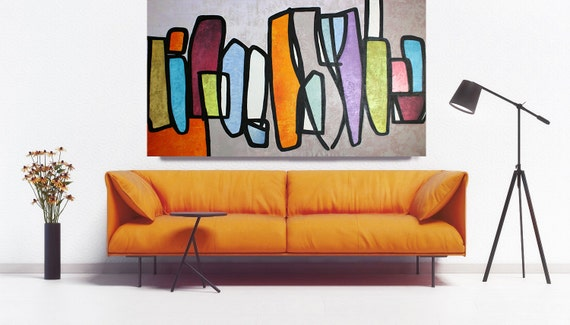 Vibrant Colorful Mid Century Modern Abstract-0-25-1, Contemporary Oil on Canvas, Midcentury Modern Colorful Original Painting by Irena Orlov