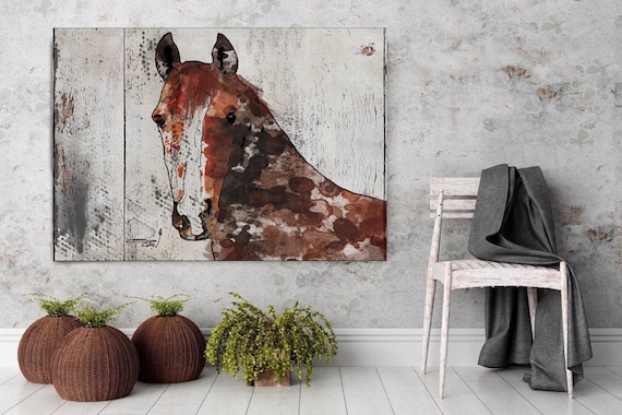 "The Brown Horse 1. Extra Large Horse, Horse Wall Decor, Brown Rustic Horse, Large Contemporary Canvas Art Print up to 72"" by Irena Orlov"
