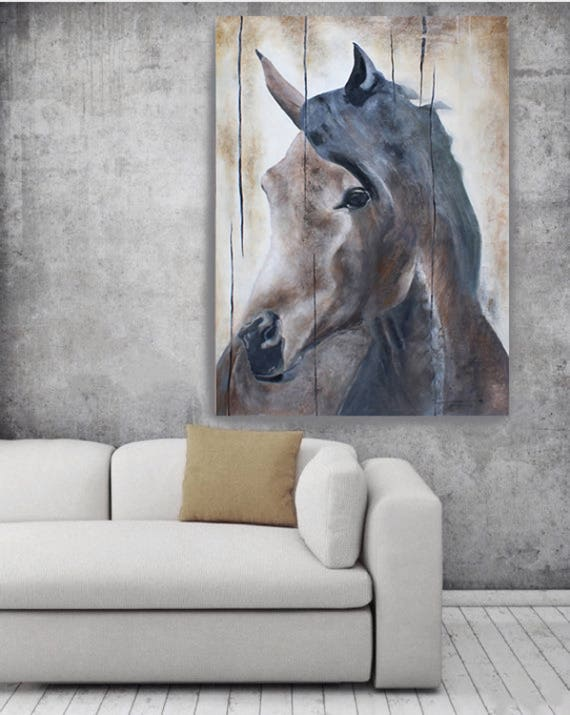 Horse LeMuse, Original Original Rustic Horse Oil Painting on Unstretched Canvas 48 x 72 inches