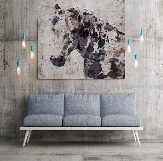 "California Horse. Extra Large Horse, Unique Horse Wall Decor Brown Rustic Horse Large Contemporary Canvas Art Print up to 60"" by Irena Orlov"