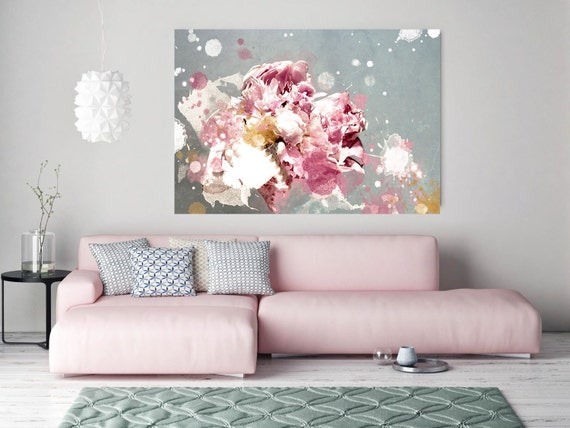 "Shabby Chic 2. Floral Painting, Pink Abstract Art, Wall Decor Large Abstract Colorful Contemporary Canvas Art Print up to 72"" by Irena Orlov"