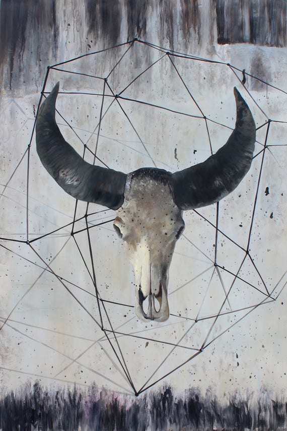 Buffalo Skull, Contemporary, Rustic Animal Original Painting with acrylic on Unstretched Canvas by Irena Orlov 48 x 72 inches