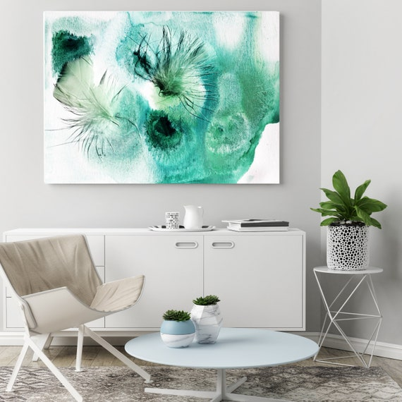 """ORL-11759 Elegant feathers in green 4, Green Feather Photography, Extra Large Feather Canvas Art Print up to 72"""" by Irena Orlov"""