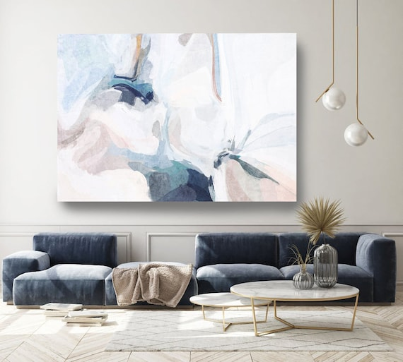 Contemporary Art Abstract Painting Print Canvas Blue Pink Abstract Art, Extra Large Canvas Print, Abstract Blur Canvas, Fleeting