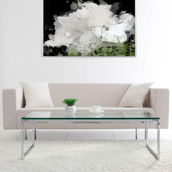 "Majesty. Floral Painting, White on Black Flower Abstract Art, Large Abstract Colorful Contemporary Canvas Art Print up to 72"" by Irena Orlov"