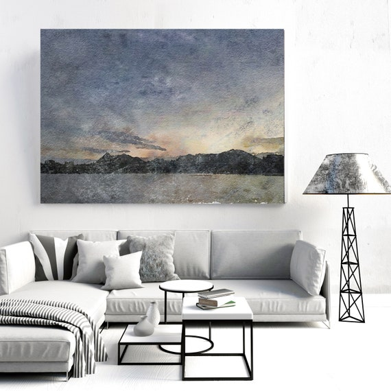 "Near Sunset. Huge Rustic Seascape Painting Canvas Art Print, Seascape Large Brown Blue Canvas Art Print up to 80"" by Irena Orlov"