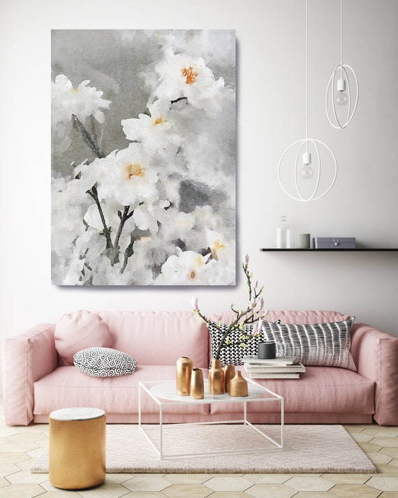 Dreamy Flowers. Floral Painting, Modern, Contemporary, Floral White Silver, Flowers Painting Canvas Print, Large Art for Living Room