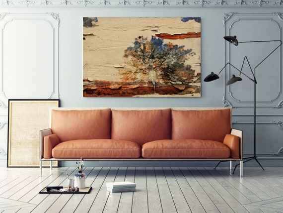 "Earth Landscape IV. Huge Rustic Landscape Painting Canvas Art Print, Extra Large Beige Brown Blue Canvas Art Print up to 80"" by Irena Orlov"