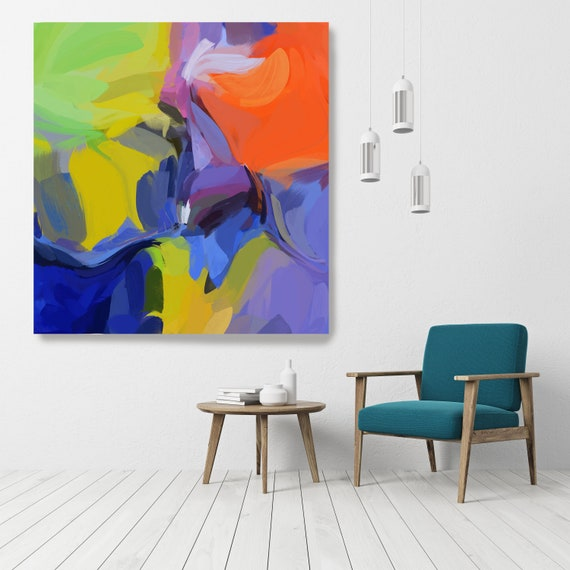 "Rock My Door, Art Abstract Print on Canvas up to 50"", Green Orange Blue Pink Abstract Canvas Art Print, Sunny City by Irena Orlov"