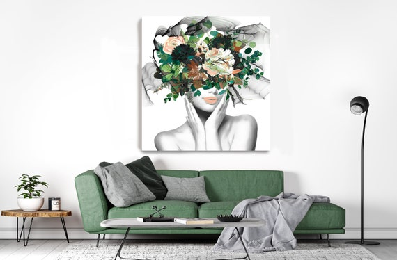 Woman Floral Portrait Green Flowers head woman Canvas Print, Sexy wall art, Heavenly perfection 6 Floral Head Woman Print, Woman Fashion Art