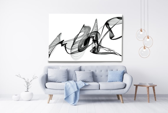Abstract Nordic Black & White Canvas Painting, Office Decor Minimalist Canvas Art Print, Black and White Textured Painting, My Lost Hopes