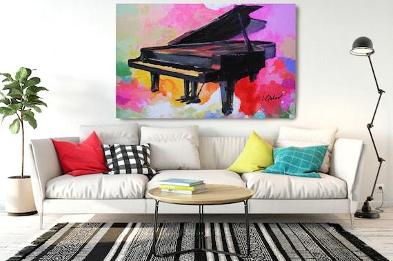 """Colorful Piano, Contemporary Piano Canvas Art Print, Extra Large Piano Canvas Art up to 72"""", Colorful Vivid Abstract Piano Art Irena Orlov"""