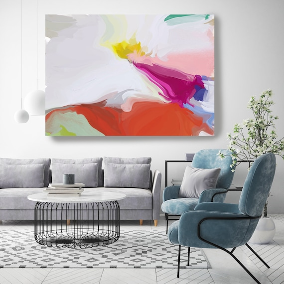 Aura, Pink Orange Yellow Abstract Painting, Abstract Painting, Contemporary Art, Hand Painted extra large canvas print